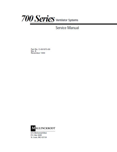 Сервисная инструкция Service manual на 700, 740, 760 Rev. A 1999 [Nellcor Puritan Bennett]