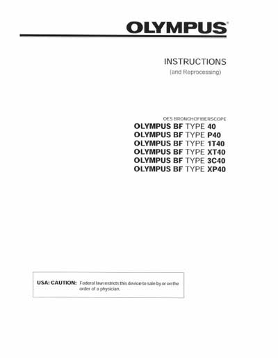 Инструкция по эксплуатации Operation (Instruction) manual на Бронхофиброскоп BF type 40, P40 ,1T40, XT40, 3C40, XP40 [Olympus]