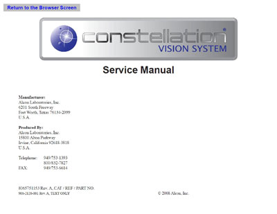 Сервисная инструкция, Service manual на Хирургия Constellation Vision System