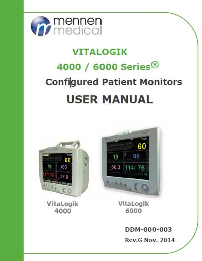 Инструкция пользователя User manual на VitaLogic 4000 / 6000 [Mennen Medical]