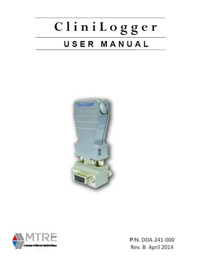 Инструкция пользователя User manual на CliniLogger (MTRE) [Mennen Medical]