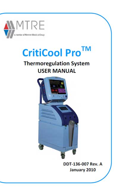 Инструкция пользователя User manual на CritiCool ProTM Thermoregulation System (MTRE) [Mennen Medical]