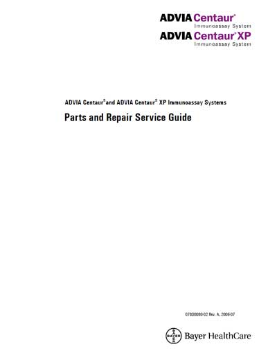 Сервисная инструкция Service manual на Advia Centaur, Centaur XP Parts and Repair Service Guide [Bayer]