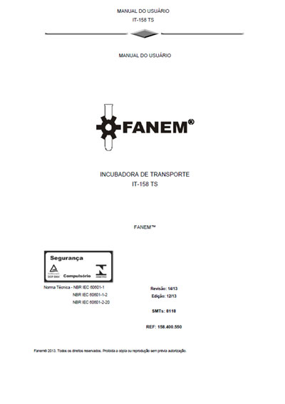 Инструкция пользователя User manual на IT-158 TS (Rev 14/13) [Fanem]